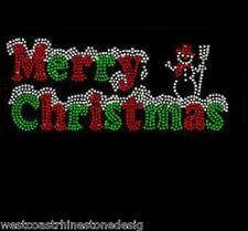 Merry Christmas with Snowman Rhinestone Iron on Transfer     5H8D