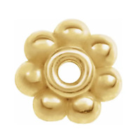 4.5mm 14K SOLID Yellow Gold Milgrain Floral Bali Bead Spacer Roundel USA MADE