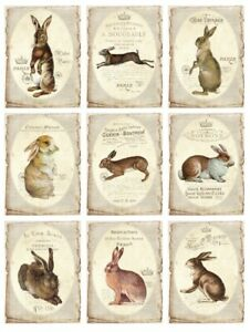BÜGELBILD-Vintage-Shabby-Nostalgie-Ostern-Easter-Hase-Rabbit-3258