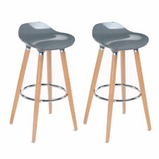 2 sillas de taburetes de bar Asiento de plástico Reposapiés de madera Gris