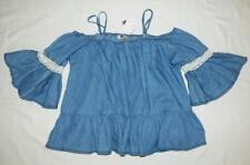 NWT $30 blue chambray & crochet lace COLD SHOULDER TOP M/L 12 BELL SLEEVE frill