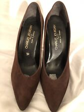Charles Jourdan Paris Brown Suede Heel Pump size 7.5
