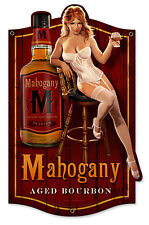 MAHOGANY BOURBON SHAPED HILDEBRANDT METAL SIGN PINUP GIRL HAND SIGNED FREE PRINT