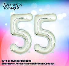 """Giant 55th Birthday Party 40"""" Foil Balloon Helium Air Decoration Age 55 SILVER"""
