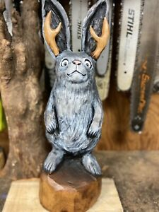 JACKALOPE Chainsaw Carving JACK-A-LOPE Statue CHERRY Wood ONE of a KIND ARTWORK!