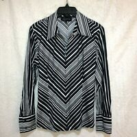 Jones New York Signature Top Long Sleeve Navy Chevron Stripe Women's Large