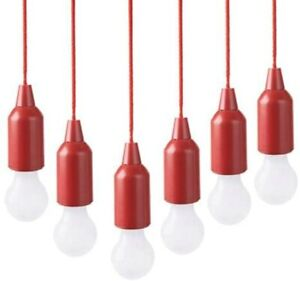 Improvements 6-Pack Indoor/Outdoor LED Pendant Pull Lights Hurricane - RED