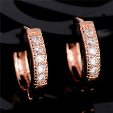 1pair 18K Rose Gold Filled cubic zirconia Attractive CZ Womens Ear Hoop Earrings