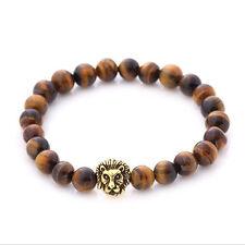 Black Lava Stone Fashion Men Gold&Silver Lion Beaded Cuff Charm Bangle Bracelet