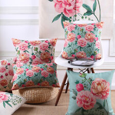 2 Cotton Linen Cushion Cover Square Lumbar Throw Pillow Peony Floral 45*45 53*53