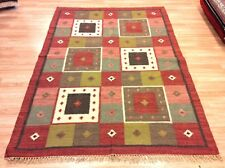 RED Multi Ethnic Tribal Geometric Hand Woven Wool Reversible Kilim Rugs -50% RRP