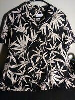 Patchington Women's Black & White Blouse Size XL 100% Silk Top