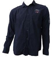 Camicia shirt Aeronautica Militare manica lunga long sleeves 100% COTONE Blu Blu