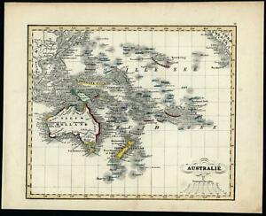 Australia New Holland Zealand Oceania 1840-45 Baedeker Petri scarce Dutch map