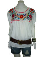 WHITE PEASANT PUEBLA HAND EMBROIDERED MEXICAN BLOUSE TOP XS, S, M, L, XL, XXL