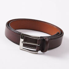 New $295 SANTONI Brown Soft Calf Leather Belt with Stitched Edge 42 W