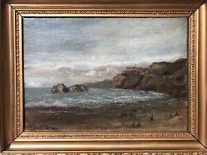 🔥 Antique 19th California Plein Air Impressionist Seascape Oil Painting, Signed