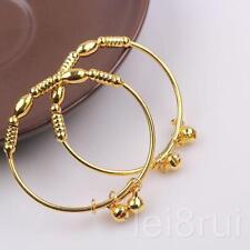 2pcs Bell Design 24k Yellow Gold Filled Children's Baby's Bangle Bracelet 45mm