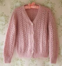 Vtg 40s50s60s70s Antique Pink Mohair Wool Crochet Lace Hand Made Knit Cardigan S