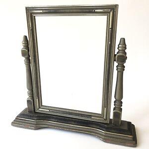 Art Deco Picture Frame Swivel Vtg Wood Gray Silver Vanity Desk Antique Vintage