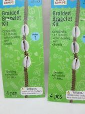 Kid's Craft 2 Braided Bracelet Kits - Dark Ecru w/shells