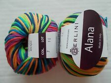 Berlini Alana cotton blend yarn, Jelly Beans, lot of 2 (160 yds ea)