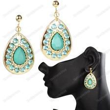 RETRO TEARDROP EARRINGS ethnic bali drops TURQUOISE BLUE/GOLD fashion CLIP/HOOK