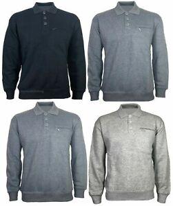 Mens Long Sleeved Plain 3 Button Polo Shirt Sweatshirt P Cotton Top Jumper 2020
