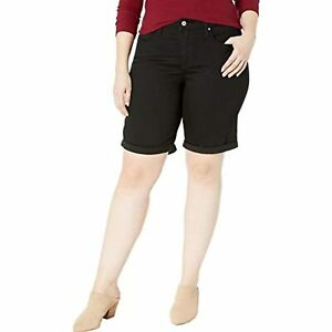 MSRP $45 Levi's Women's Plus-Size Shaping Bermuda Shorts Black Size 20W