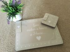 4 heart SHABBY cute CHIC  Table PLACE MATS &coasters KITCHEN Brown Cream