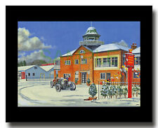 Bentley outside Brooklands Clubhouse framed picture