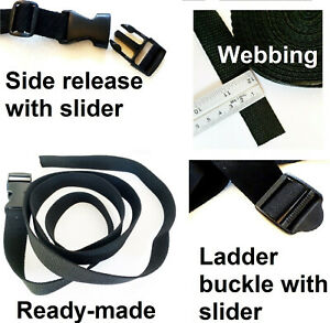 Backpack Straps READY MADE Quick Release Buckle Ladder Side Lock Repair UK