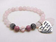 Rose Quartz Rhodochorisite Bracelet You are Always in my Heart Crystal Healing