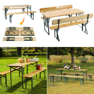 Outdoor Patio Folding Beer Table Bench Chair Set Garden Dining Wooden Furniture