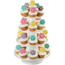 4 Tier Cupcake Dessert Tower Stack Party Sturdy White Plastic Cake Stand Display