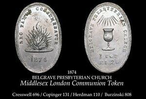 1874 Middlesex London Communion Token B808