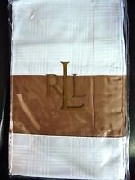 NIP $142 RALPH LAUREN SUITE GLEN PLAID STANDARD PILLOW SHAM WHITE/CAMEL COTTON