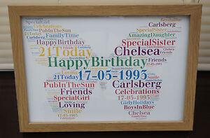 Personalised word art Butterfly Keepsake Print & frame Unique gift Birthday