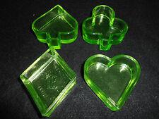 Green Vaseline glass uranium Poker set salt dip ashtray diamond heart club spade