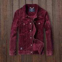 Mens Slim Japanese Leisure Coat Vintage Corduroy Jacket Lapel Warm Shirts Party