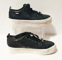 DKNY Black Leather Lace Up Platform Chunky Sneakers Sz 8.