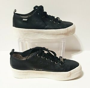 DKNY Black Leather Lace Up Platform Chunky Sneakers Sz 8.