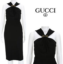 NEW GUCCI $1550 JERSEY CLASSIC LITTLE BLACK REMOVABLE HORSEBIT DRESS SMALL