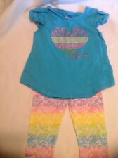 Healthtex 2 Piece Girls Outfit With Multicolored Glitter Heart Love And Pants