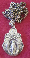 Vintage Catholic Religious Medal - STERLING - Military Miraculous - Chain WINGS