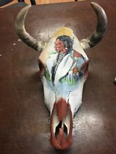 Authentic Cow Skull: Hand Painted Native American Indian-Signed
