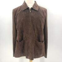 A.M.I. Brown Leather Suede & Knit Jacket Women's Size 2X