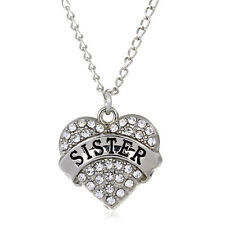 SISTER SILVER NECKLACE WITH SHINY STUDDED CLEAR CRYSTAL HEART PENDANT #KC40
