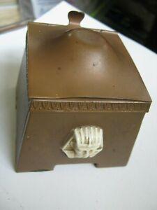 """1920s Egyptian Revival 1070 Copper Temple; White Pharoah Bust 3"""" Square Inkwell"""