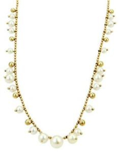 Mikimoto Yellow Gold Elegant 18k Graduated Pearls Bead Necklace LIQUIDATION